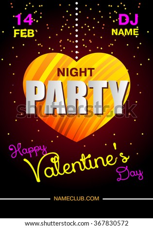 Valentine's Day party poster. Dance party, design with place for text. Bright web banner designs template.