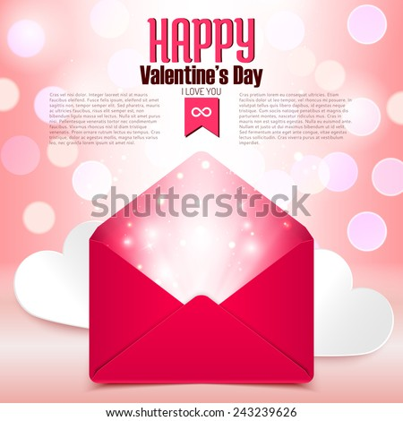 Valentine's day postcard with love letter surprise on defocused bokeh background, vector illustration - stock vector