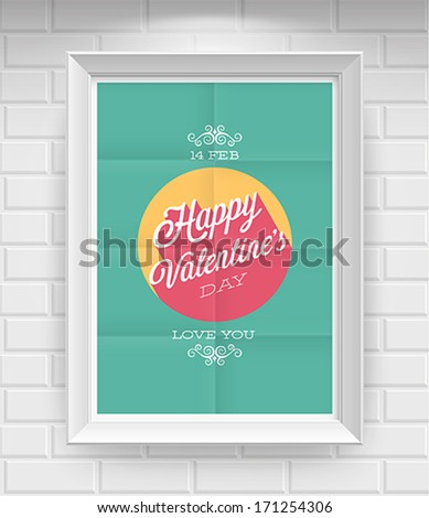 Valentine`s day Poster. Vector illustration. - stock vector