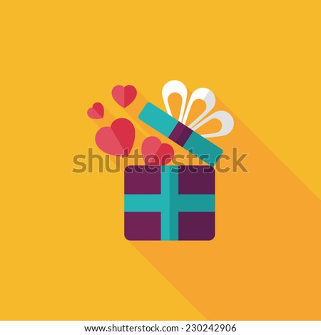 Valentine's Day present flat icon with long shadow,eps10 - stock vector