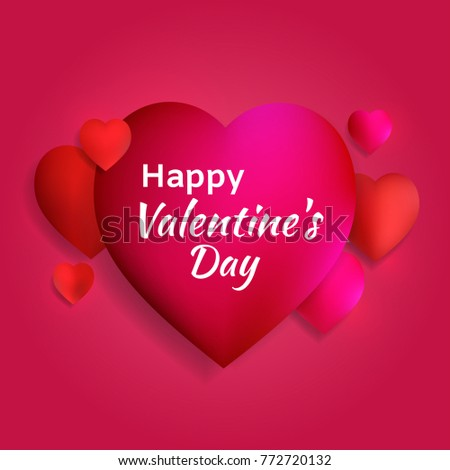 Valentines Day Red Hearts Abstract Vector Stock Vector 772720132 ...