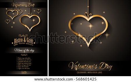 Valentines Day Restaurant Menu Template Background Stock Vector
