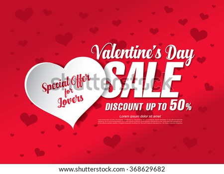 valentine's day sale banner - stock vector