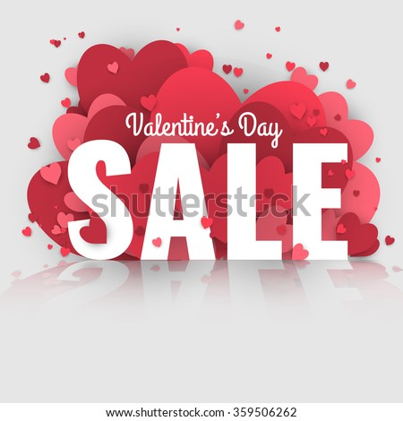 Valentine's Day sale. Letters with hearts valentine background and reflection.  - stock vector