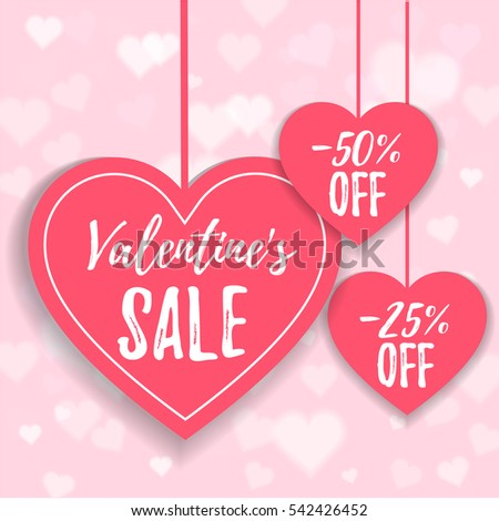 valentines day sale offer banner template pink heart with lettering isolated on pink