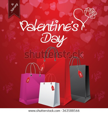 Valentine's day sale shopping bag background EPS 10 vector stock illustration - stock vector