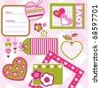 Valentine ´s day scrapbook elements, vector - stock vector