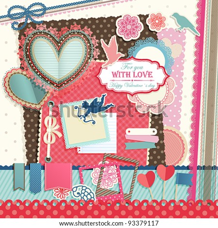 Valentine`s Day scrapbook elements. Vector illustration.