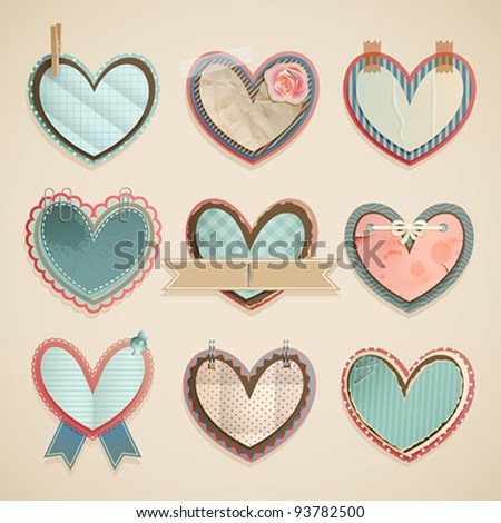Valentine`s Day scrapbooking elements — paper vintage hearts. - stock vector