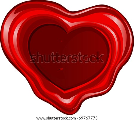 Valentine`s day sealing wax in heart shape - stock vector