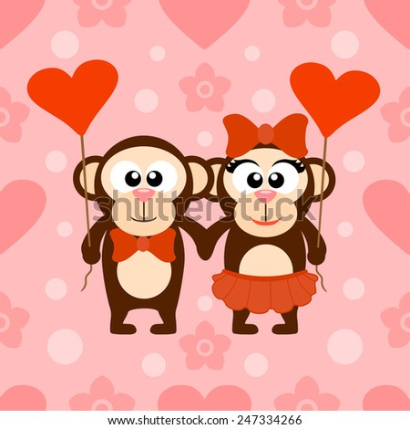 Valentine's day seamless background card with monkeys - stock vector