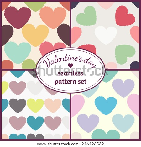 Valentine's day seamless pattern set with multicolored hearts