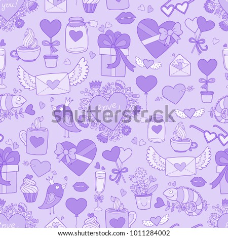 Valentine's Day seamless vector pattern. Lovely cute illustration.