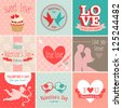 Valentine`s Day set - greeting cards. Vector illustration. - stock photo