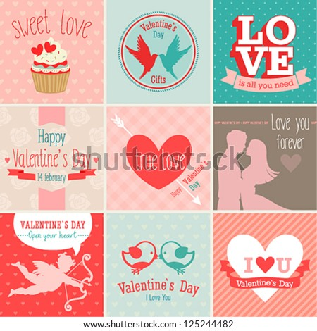 Valentine`s Day set - greeting cards. Vector illustration. - stock vector