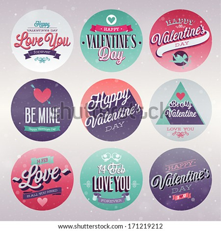 Valentine`s day set - labels, emblems and other decorative elements. - stock vector