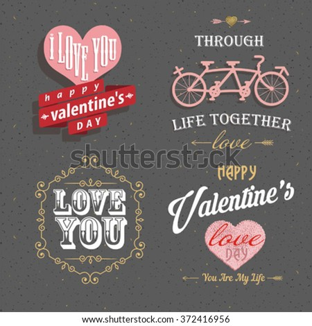 Valentine's day set - labels, emblems and other decorative elements for greeting card, web banner, badge, ad and printed materials - stock vector