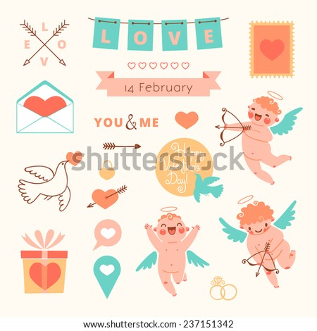 Valentine's Day set of elements for design. Vector illustration. - stock vector