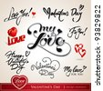 Valentine's Day. Set of Valentine's calligraphic headlines with hearts. Vector illustration. - stock photo