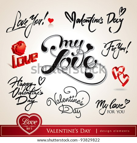 Valentine's Day. Set of Valentine's calligraphic headlines with hearts. Vector illustration. - stock vector