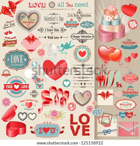 Valentine`s Day set - vintage design elements. - stock vector