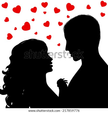 Valentine's day - Silhouette a happy couple