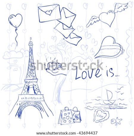 Valentine's day symbols - stock vector