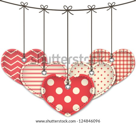 Valentine's Day textured hearts. Vector illustration