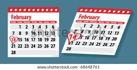 Valentine's Day, the calendar - stock vector