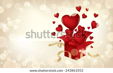 Valentine's Day themed illustration with hearts popping out of a present. - stock vector