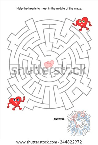 Valentine's Day themed maze game: Help the hearts to meet. Answer included.  - stock vector