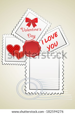 Valentine's Day-themed stamps  - stock vector
