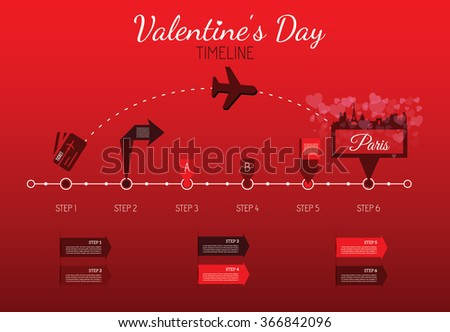 Valentine's day timeline Pro, different tooltips - stock vector
