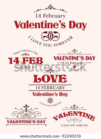 Valentine's Day type text calligraphic Valentine's headline with heart - stock vector
