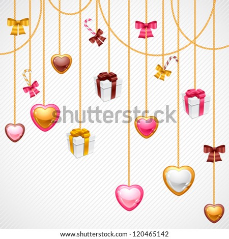 Valentine's Day vector background. Gift card and flyer. - stock vector