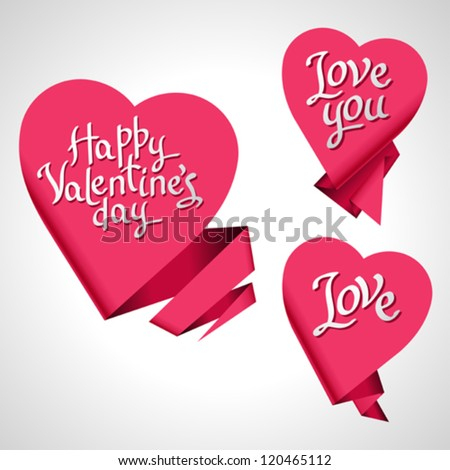 Valentine's Day vector background. Origami speech bubble. - stock vector