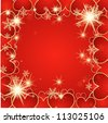 Valentine's day vector background with hearts and snow - stock vector