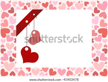 Valentine's day vector background with red bow and tag-heart - stock vector