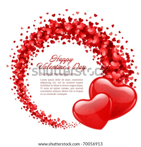 Valentine's day vector background with two hearts - stock vector