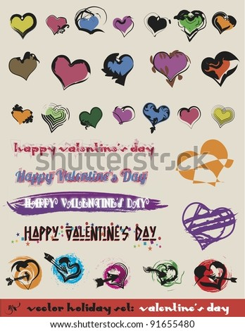Valentine's Day Vector Hearts:  Another set of decorative design elements filled with creative and unusual heart shapes for your festive designs. - stock vector