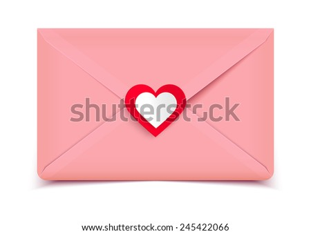 Valentine's day vector illustration, pink envelope isolated on white background, greeting card - stock vector