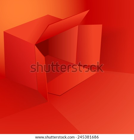 Valentine's day vector illustration with red box eps 10 - stock vector