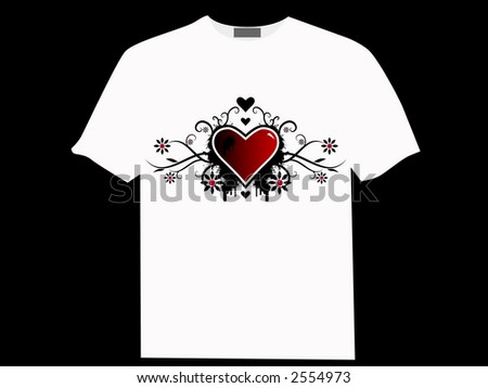 Valentine's day vector image with ink splats and vines on a T-shirt. Funky and retro image. - stock vector
