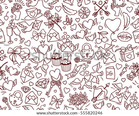 Valentine's Day vector seamless pattern. Pattern for St. Valentine. Many cartoon elements on white background. Cute symbols of love and marriage for stuff design. Black contour