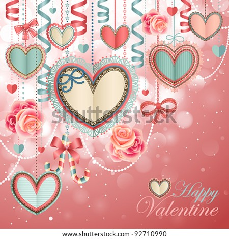 Valentine`s Day vintage card with paper hearts and place for text. - stock vector