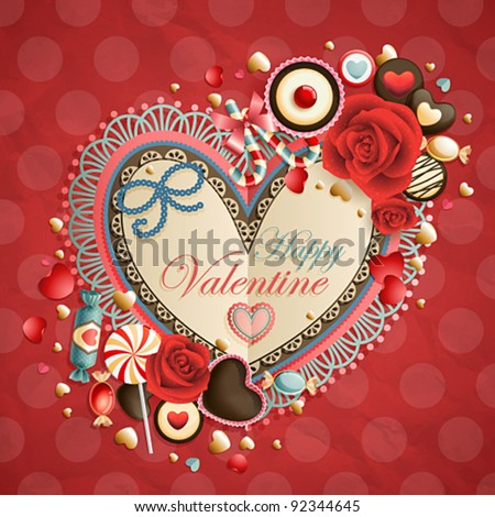 Valentine`s Day vintage card with place for text. - stock vector