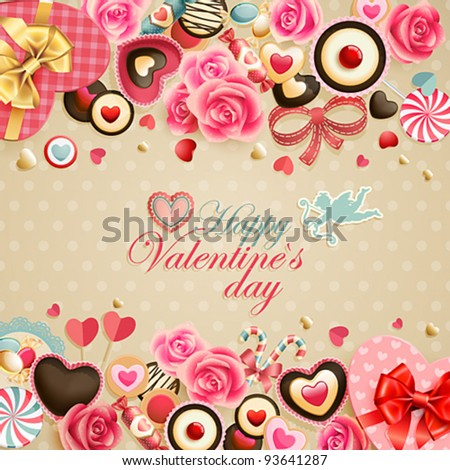 Valentine`s Day vintage card with sweets and place for text.