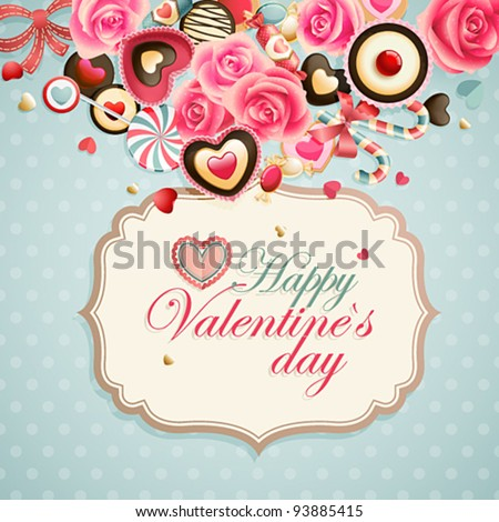 Valentine`s Day vintage card with sweets and place for text. - stock vector