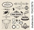 Valentine`s Day vintage design elements and letterning. - stock photo