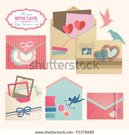 Valentine`s Day vintage envelops. Scrapbook vector elements. - stock vector